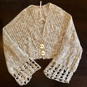 Free People Cropped Knit Cardigan Sweater